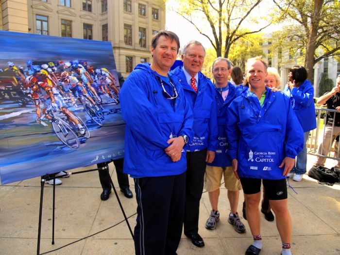 2009 Georgia Rides to the Capitol, left to right: Dunwoody Mayor Ken Wright, Governor Deal, & Councilors Robert Wittenstein and Doug Thompson